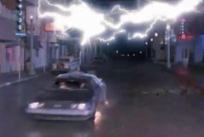 DeLorean hitting 88mph Back to the Future